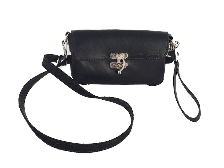 Black Mini Side Threaded Crossbody Purse with Wristlet