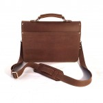 "Chocolate 14"" Briefcase with Buckle"
