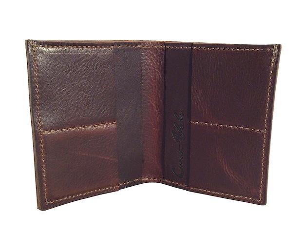 Large Dark Brown Pebble Bi-Fold Wallet