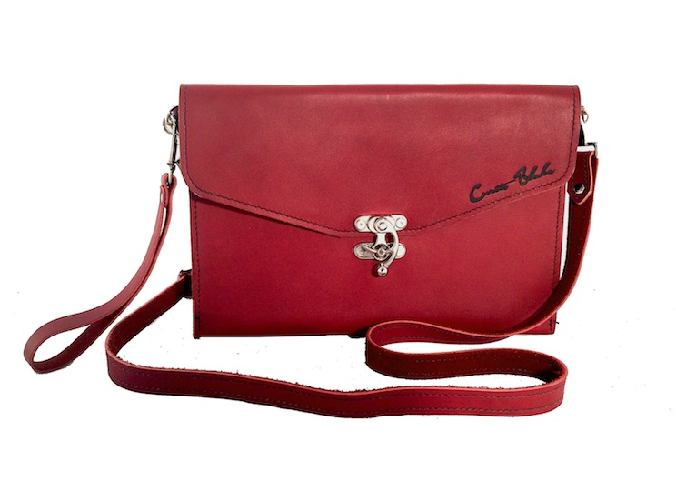 Red Crossbody Clutch with Wristlet