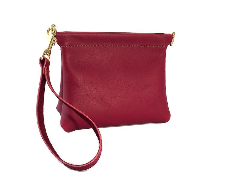 Red Spring Frame Wristlet