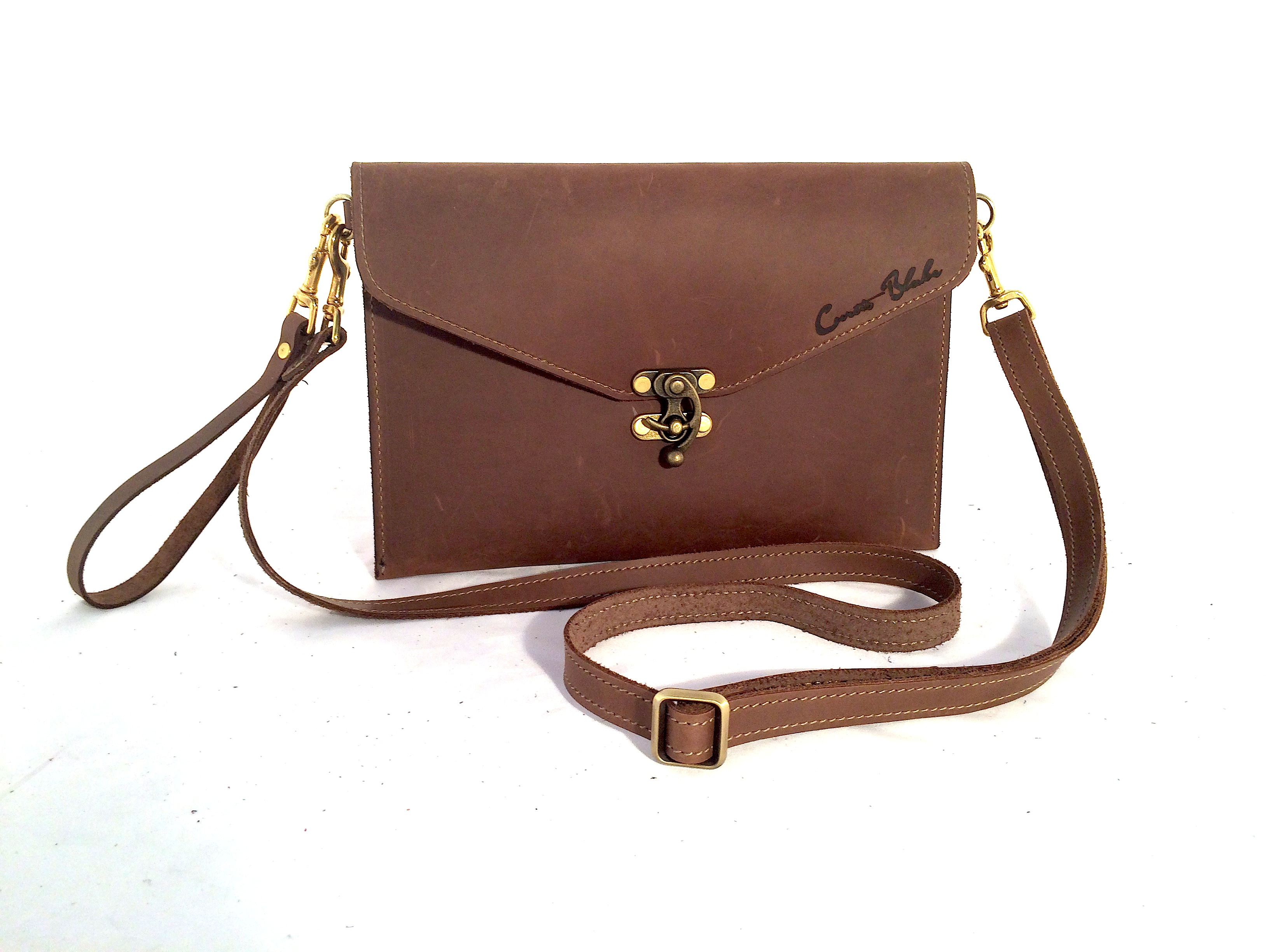 Chocolate Crossbody Clutch with Wristlet