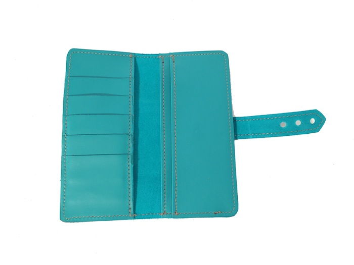 Tall and Slim Teal Wallet