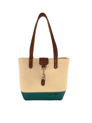 Teal and White Tote